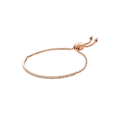 Michael Kors Rose Gold-Tone Crystal Bar Slide Bracelet