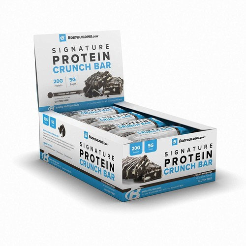 Bodybuilding.com Cookies and Cream Signature Protein Crunch Bar | 20g Whey Protein Low Sugar | Gluten Free No Artificial Flavors | 12 Bars