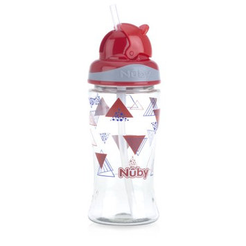 Luv N' Care, Ltd. Nuby Thirsty Kids 12oz Flip-it Boost Cup, Red Triangles