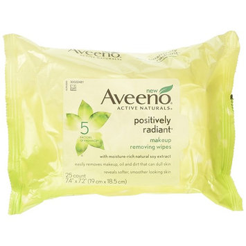 Aveeno Positively Radiant Cleansing Makeup Removing Wipes, 25 Count, Twin Pack