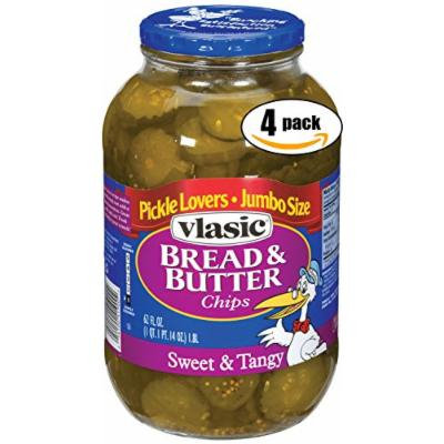 Vlasic Bread & Butter Sweet & Tangy Pickle Chips, 62 OZ Jar (Pack of 4, Total of 248 Oz)