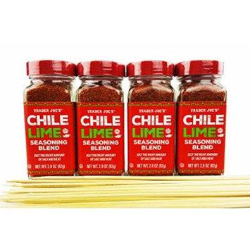 Trader Joe's Chile Lime Seasoning Spice Blend - Gift Bundle With 100 Pack Bamboo Skewers, 2.9 oz (Pack of 4) - Best Enjoyed on Fruit Salad, Veggies, Meats, Grilling