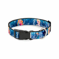 Buckle-Down Frozen Elsa The Snow Queen Poses/Snowflakes Disney Dog Collar Plastic Clip Buckle, Large