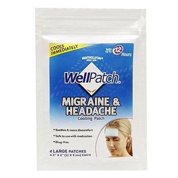 Wellpatch Migraine & Headache Cooling Patch 2 x 4.3 in. (28 Patches Per Box) (2 Pack)