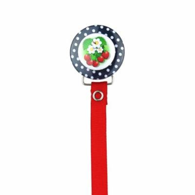 Strawberries with Navy Polka Dots 3D Pacifier Clip