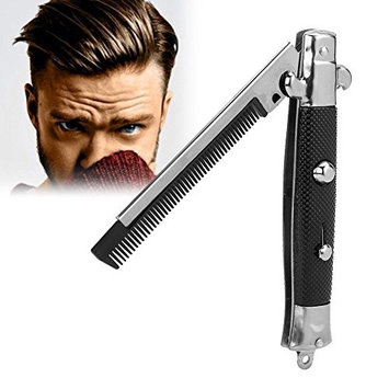 Switchblade Comb, Switchblade Spring Pocket Oil Hair Comb Folding Knife Looking Automatic Push Button Brush