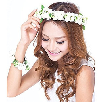 Tinksky Baby Girl Fashion Bohemian Flower Crown Floral Garland Headbands for Girls Manmade Foam Paper Rosebud with Wrist Flower