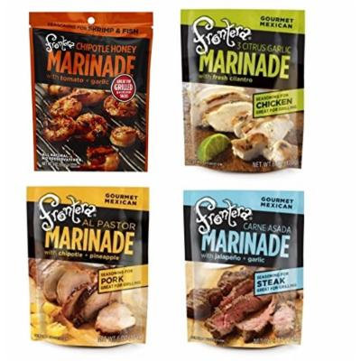 Frontera Gourmet Mexican Marinade 4 Flavor Variety Bundle, 1 Each: Chipotle Honey Shrimp, Carne Asada, 3 Citrus Garlic Chicken, and Al Pastor Pork (6 Ounces)