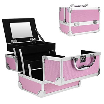 PEATAO Cosmetic Makeup Train Case with Mirror Mini Jewelry Organizer Box Extendable Trays, Pink 8 x 6 x 6inch
