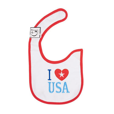 Dollaritemdirect BABY BIB I LOVE USA 12.5 X 8 COTTON, Case Pack of 144