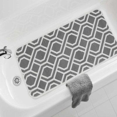 Shurtech Brands Llc Mainstays Fretwork Pattern Bath Mat, Grey, 17 in. x 36 in.