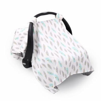Turquoise and Grey Feathers Infant Car Seat Canopy Cover by The Peanut Shell