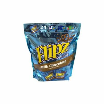 Flipz Mini Chocolate Covered Pretzels Snack Bags, 24 Count