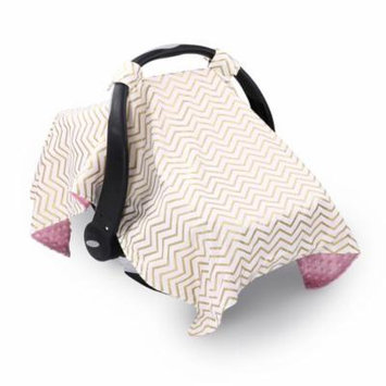 Metallic Gold Chevron Infant Car Seat Canopy Cover by The Peanut Shell