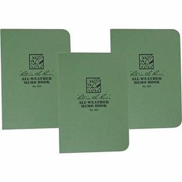 Rite in the Rain 954 Green Tactical Memo Book Field-Flex 5-Inch x 3 1/2-Inch -3 Pack