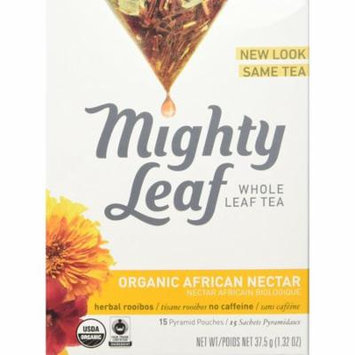 Mighty Leaf Herb Tea, Organic African Nectar, 15 Count Whole Leaf Pouch, (PACK OF 3)