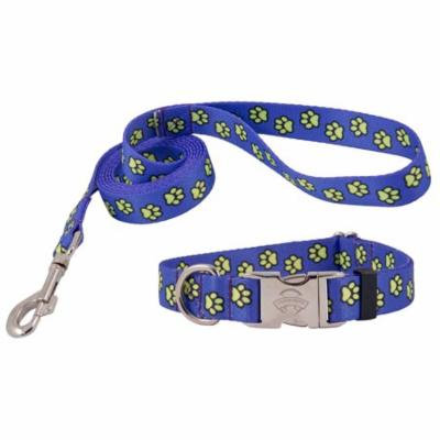 Country Brook Design® Blue Busy Paws Premium Collar & Leash