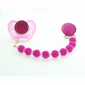 Hot Pink Crystal and Bumpy Pearl Pacifier Clip