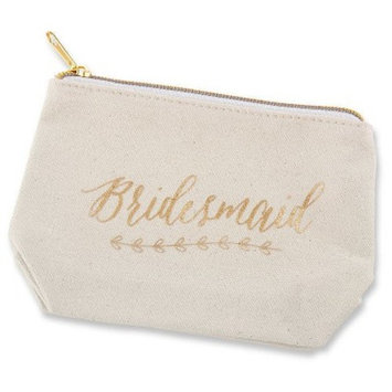 6ct Kate Aspen Gold Foil Bridesmaid Canvas Makeup Bag