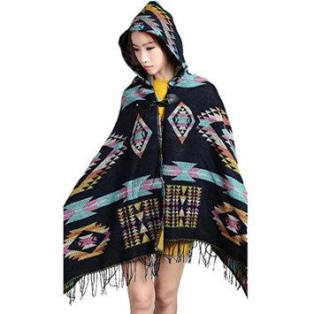 Datework Women Vintage Hooded Cloak Cape Bohemian Fringed Shawl Scarf