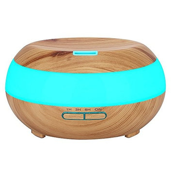 Komeito 300ml Aroma Essential Oil Diffuser,Wood Grain Aromatherapy Diffuser Ultrasonic Cool Mist Humidifier for Home Office Bedroom with 7 Color LED Light,4 Timer Settings,Waterless Auto Shut-Off
