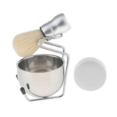 Dovewill 4pcs Men Shaving Set Alloy Holder Stand Bowl Mug Shave Brush Set Barber Tool
