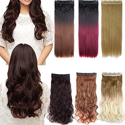 24-30 inches Straight Curly 3/4 Half Full Head 1 Piece 5 Clips in Hair Extensions