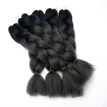 5 PCS Black Brown Light Brown Jumbo Braids Hair Extensions Big Braids 24 Inches 100g/pc(5pcs,Black/Dark Gray)