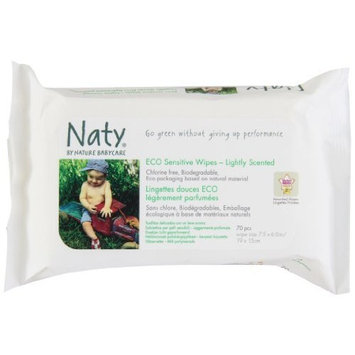 Naty Eco-sensitive Lightly Scented Wipes, 70-Count (Pack of 10)