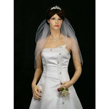 2t 2 Tier Pencil Edge Bridal Wedding Veil - White Shoulder Length 25
