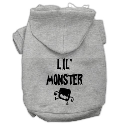 Mirage Pet Products Lil Monster Screen Print Pet Hoodies Grey Size XS (8)