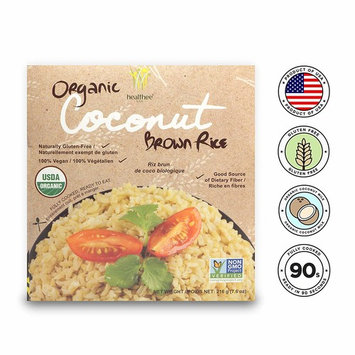 Healthee Organic Brown Rice, Gluten Free, Fully Cooked and Ready-to-Eat, USDA Certified Organic, GMO-Free, Microwaveable (Coconut, Pack of 4)
