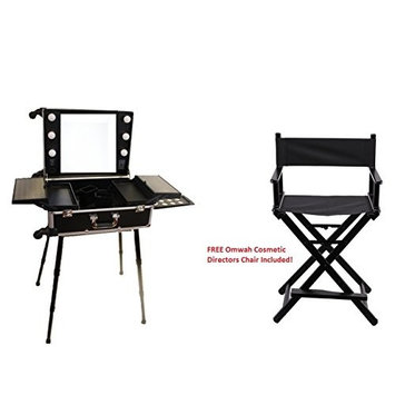 Professional Rolling Studio To Go Makeup Artist Station Portable Travel Vanity Trolley Wheels Train Case with LED Lights Mirror FREE CHAIR