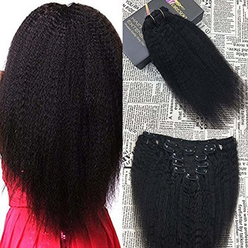 Moresoo 20 Inch Afro Kinkys Straight Clip in Human Hair Extension Human Hair Clip In Hair For Black Women 7pcs/set 120gram/set Full Head Set