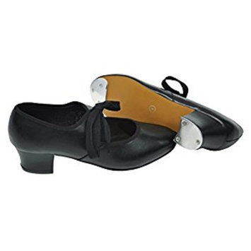 Tappers and Pointers PU TAP SHOES Cuban Heel with FITTED HEEL AND TOE Taps BLACK