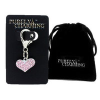 PURELY CHARMING Pet Collar Charm with Handset Swarovski Crystals - Puffed Heart