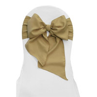 LA Linen TCpop8x108-Pk10-TaupeP13 Polyester Poplin Chair Bows, Taupe - 8 x 108 in. (Pack of 10)