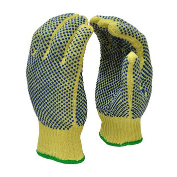 G & F 1670L Cut Resistant 100 Percent Kevlar Gloves with PVC Dots on Both Sides, 1 Pair, Large, Yellow