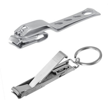 BeautyCoco Stainless Steel Ultra-thin Foldable Hand Toe Nail Clippers Cutter Trimmer Keychain Cuticle Cutter Nipper With Rotate Head Pack of 2