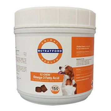 Stratford Pharmaceuticals EZ-CHEW Omega 3 Fatty Acid Max Strength for Small and Medium Breeds 150 Count