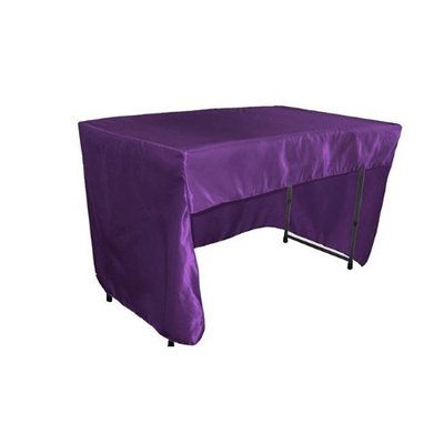 LA Linen TCbridal-OB-fit-48x30x30-PurpleB23 Open Back Fitted Bridal Satin Classroom Tablecloth Purple - 48 x 30 x 30 in.