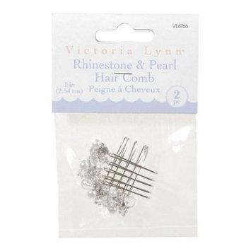 Darice VL6766 Rhinestone/Pearl Hair Comb, 1-Inch, 2-Pack