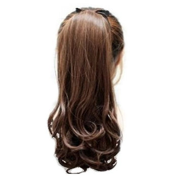 SODIAL(R) Synthetic False Hair Ponytails Pad pony Tail Curly Piece Long Wavy Clip In Wrap Around Ponytail Fake Hair Extensions Hairpiece Light Brown