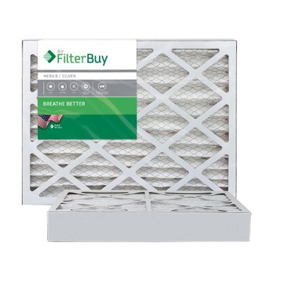 AFB Silver MERV 8 15x25x4 Pleated AC Furnace Air Filter. Filters. 100% produced in the USA. (Pack of 2)