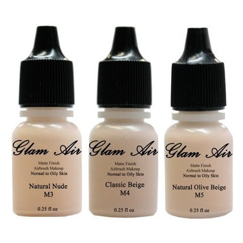 Glam Air Airbrush Water-based Foundation in Set of 3 Assorted Light Matte Shades (For Normal to Oily Light/Fair Skin) by SEXY SPARKLES