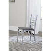 COSCO Contoured Back Wood Folding Chair with Fabric Seat, White and Gray, 2-Pack