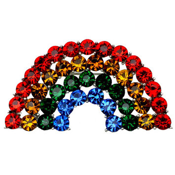 Faship Gorgeous Multi Colors Crystal Rainbow Pin Brooch
