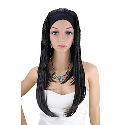 Kalyss 3/4 Half Red Wig Hand Tied Long Twist Braided Afro Hair Wig With Black Headband