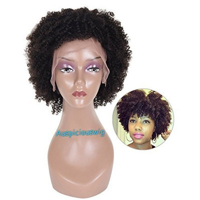Auspiciouswig Short Afro Curly Brazilian Human Hair Glueless Full Lace Front Wigs for Black Women