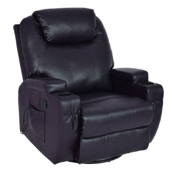 Costway Massage Sofa Chair Recliner Heated Rocking Swivel w/ Control and Cup Holder